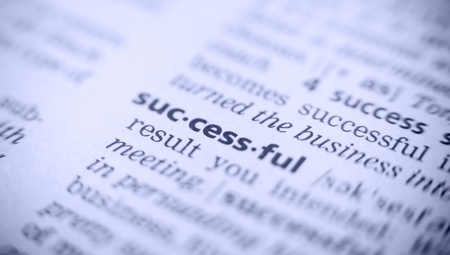 glossary: the word success in a glossary, macro, blue toning