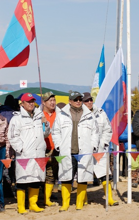 UST-BARGUZIN, RUSSIA - APRIL 10: A team representing Mongolia takes part in the 5th Annual Baikal Fishing, April 10, 2009 in Ust-Barguzin, Buryatia, Russia. Stock Photo - 8722844