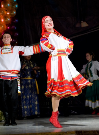 ULAN-UDE, RUSSIA - FEBRUARY 10: Dancers perform a Russian folk dance at the Annual Republican Best Sportsmen Award, February, 10, 2010, Ulan-Ude, Russia. Stock Photo - 8749138