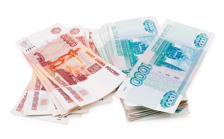 money packs: russian paper money - batches of 1000 and 5000 rouble bills Stock Photo
