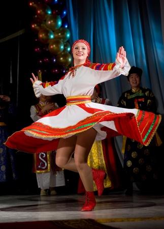 ULAN-UDE, RUSSIA - FEBRUARY 10: Dancers perform a Russian folk dance at the Annual Republican Best Sportsmen Award, February, 10, 2010, Ulan-Ude, Russia.