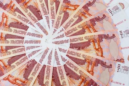 encash: many russian paper money - 5000 rouble bills Stock Photo