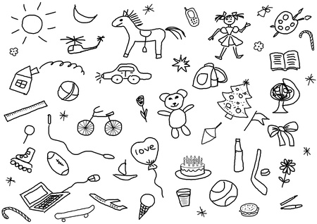 a set of various childs drawings over white photo