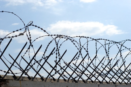 barblock: metal rods and wound barbed wire on fence