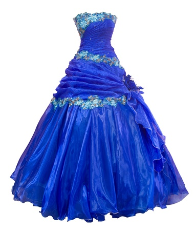 bell shaped: a ladies blue organza evening dress with a bell shaped skirt, clipping path Stock Photo
