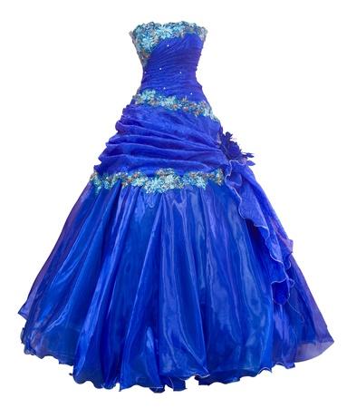 traje de gala: vestido de noche de un damas de organza azul con una campana en forma de falda, trazado de recorte