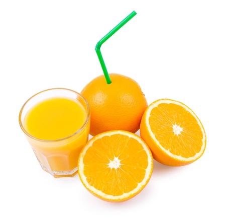 ascorbic: oranges and a glass with orange juice Stock Photo