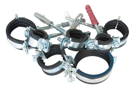 clamp: metal clamps for pipes with rubber paddings and screws