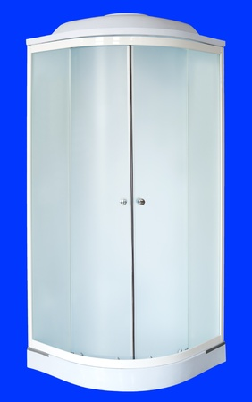 shower cubicle: a shower cubicle with frosted sliding doors Stock Photo