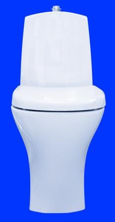 toilet sink: un receptor de WC, aislado sobre fondo azul Foto de archivo