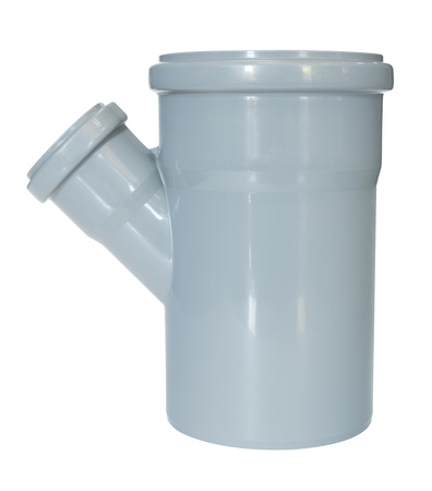 a PVC fitting - a draining tee pipe, angle 45 photo