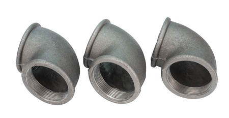 screw jack: three metal pipe bends with inner thread