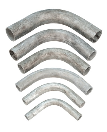 some galvanized iron pipe bends, isolated over white Stock Photo