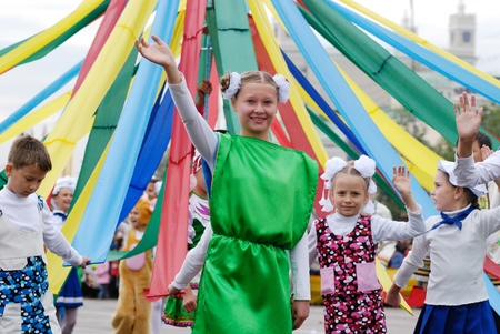 ULAN-UDE, RUSSIA - SEPTEMBER 6: Children from City Palace of Child and Junior Arts take part in the City parade on annual City Day, September 6, 2008 in Ulan-Ude, Buryatia, Russia.