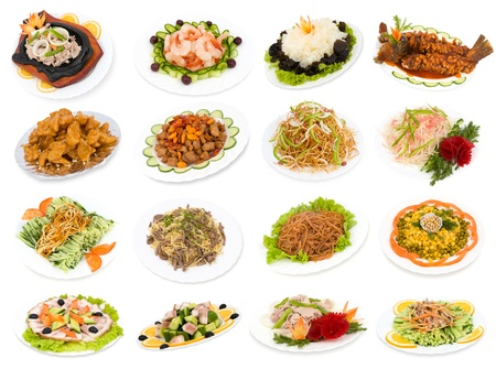 Chinese food, a set of different dishes over white.
