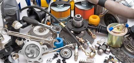 spare car: a lot of different auto spare parts Stock Photo