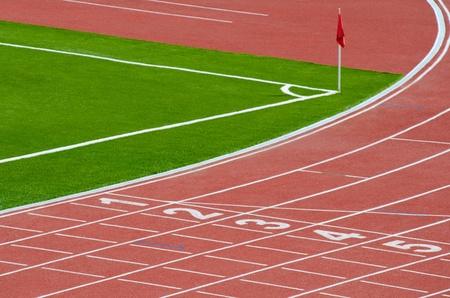 athletics track: a part of an outdoor stadium - running tracks