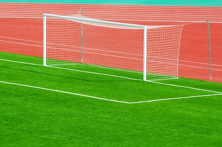 sectoring: an empty football (soccer) goal at an outdoor stadium