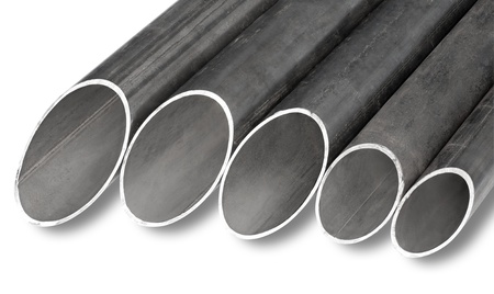 patterns of steel pipes of different diameter for pipeline construction photo