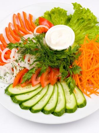 dof: assorted sliced fresh vegetables, a closeup shot