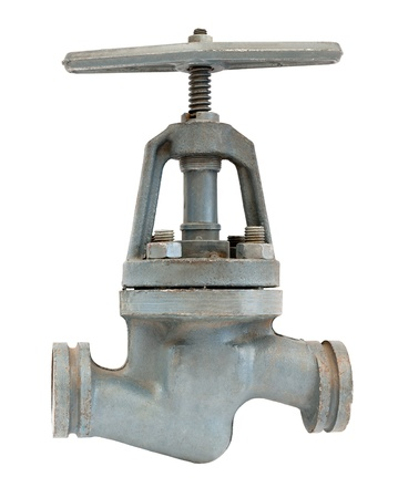 stop gate valve: a metal pipeline valve, isolated over white