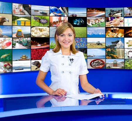 a television anchorwoman at studio, a multidisplay panel behind, collage of photos by the author
