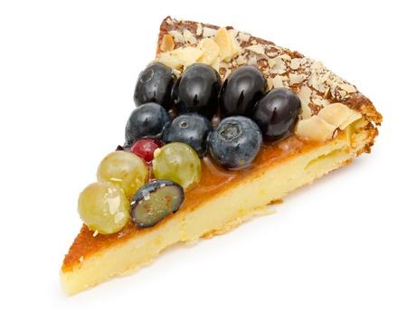 a piece of a fresh cheese cake - a closeup shot photo