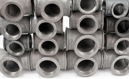 cast iron: various metal tee fittings with inner thread, for pipes