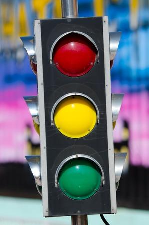 inoperative: a traffic light, switched off, closeup shot Stock Photo
