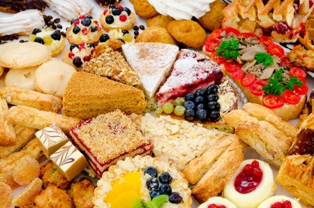 many different kinds of dessert - cakes, sweets and pies