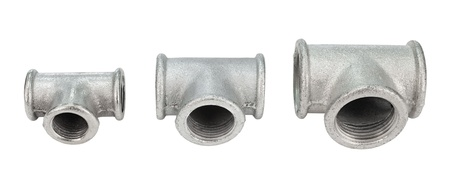 screw jack: various metal tee fittings with inner thread, for pipes