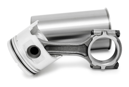 details of diesel engine - a connecting rod, a piston and a cylinder