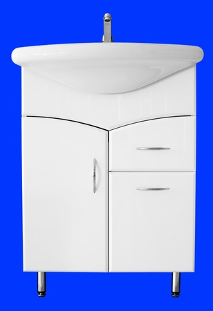 cubicle: a washstand with a base unit  Stock Photo