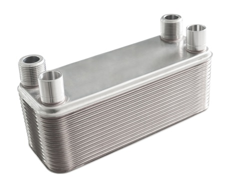 a plate type heat exchanger, over white