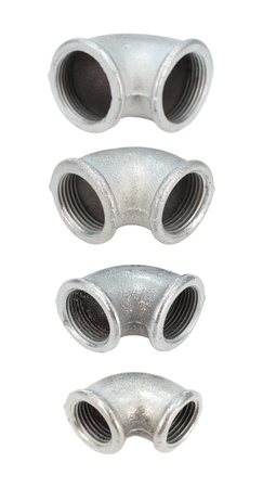 four metal pipe bends with female thread Stock Photo