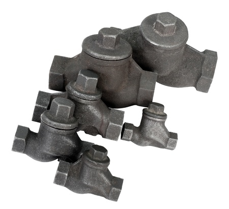 screw jack: some socket coarse filters of cast iron Stock Photo