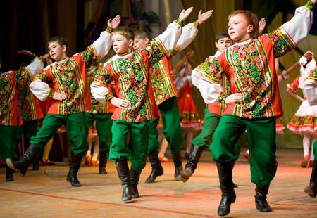 folk dancing: ULAN-UDE, RUSSIA - APRIL 3: The 1st Charity Children