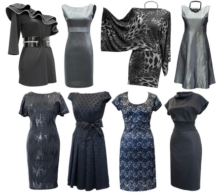 various black and grey dresses for women, a set, isolated photo