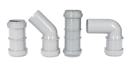 kunststoff rohr: vier verschiedene PVC-Fittings - Entw�sserung gerade und Rohrb�gen