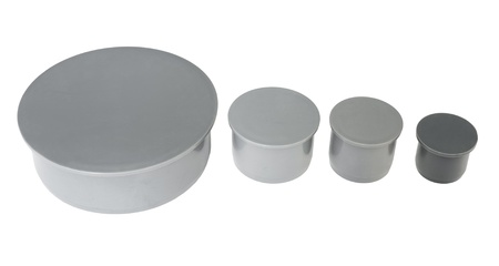 four polypropylene plug fittings of different caliber photo