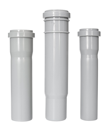 three different PVC fittings - draining straight pipes photo