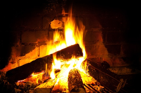 burning round logs in fireplace against brick smoked wall photo