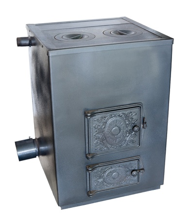 wood stove: a steel water boiler with a stove plate