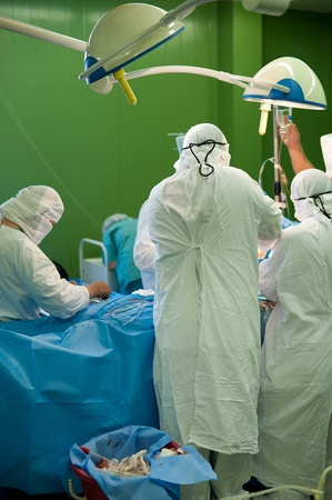 a real surgical operation in a green room