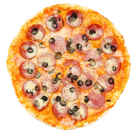 a pepperoni pizza with black olives, top view, isolated photo