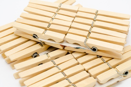 many new wooden clothespins, three packs on cardboards Stock Photo - 11569297