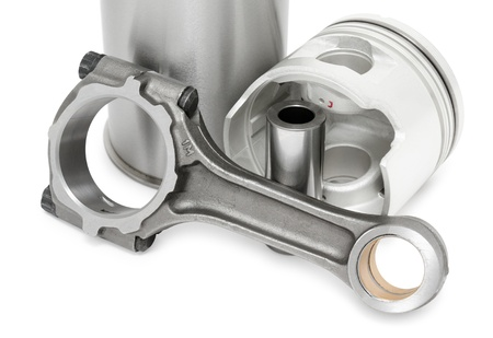details of diesel engine - a connecting rod, a piston with its pin and a cylinder Stock Photo - 11569312