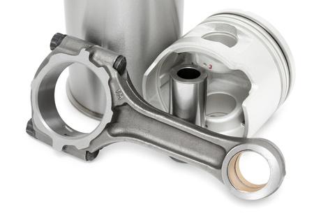 cilindro: detalles de motor diesel - una biela, un pistón con su pasador y del cilindro una