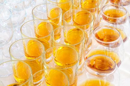 stemware: many alcohol drinks on buffet table, catering Stock Photo