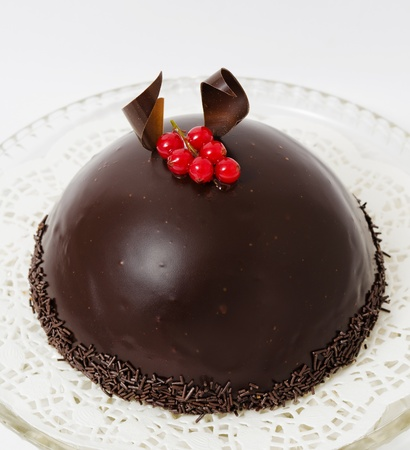 a semispherical chocolate cake with a cranberry twig on top photo